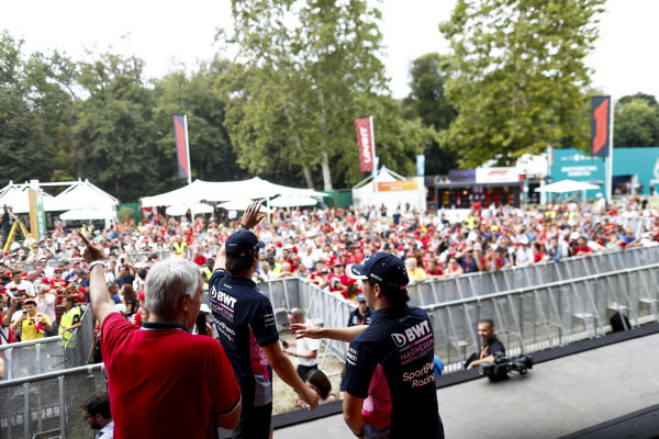 Sergio Perez, Racing Point and Lance Stroll, Racing Point on stage in the fan zone