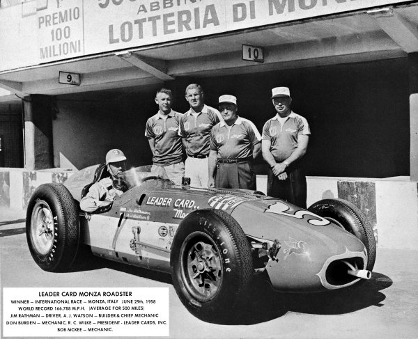 Monza, Italy. 29th June 1958.Jim Rathmann, Zink Leader Card Spl , 1st position, with team, portrait. The race was also known as Monzanapolis.World Copyright: LAT Photographic.Ref: B/W Print.