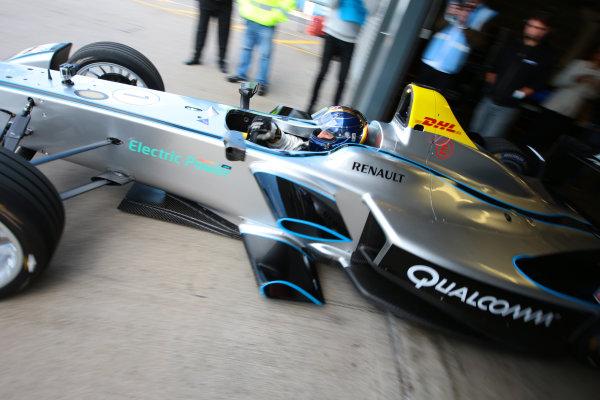FIA Formula E Test Day, Donington Park, UK.  19th August 2014. Heinz-Harald Frentzen. Photo: Malcolm Griffiths/FIA Formula E ref: Digital Image F80P9707