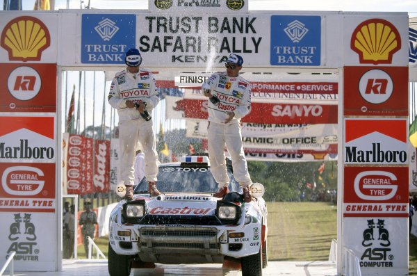 1994 World Rally Championship.Safari Rally, Kenya. 31 March-3 April 1994.Didier Auriol/Bernard Occelli (Toyota Celica Turbo 4WD), 3rd position. Podium.World Copyright: LAT PhotographicRef: 35mm transparency 94RALLY13