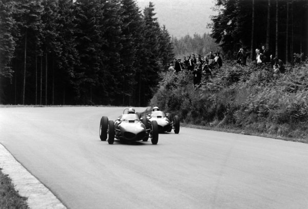 1961 Belgian Grand Prix Spa-Francorchamps, Belgium. 16-18 June 1961 Wolfgang von Trips leads Phil Hill (both Ferrari 156). They finished in 2nd and 1st position respectively World Copyright: LAT PhotographicRef: Autosport b&w print