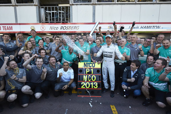 o 26th May 2013. Nico Rosberg and the Mercedes team celebrate victory. World Copyright: Steve Etherington/c ref: Digital Image SNE23915 copy