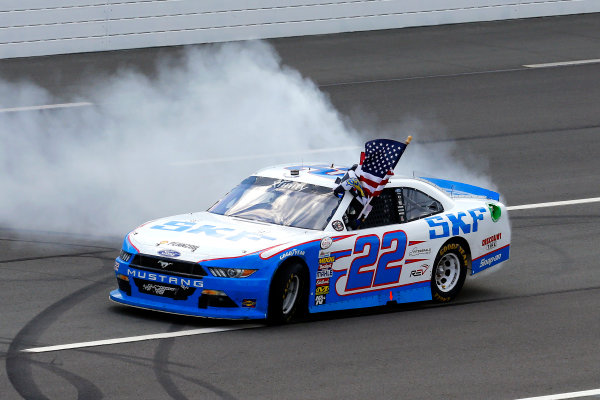 NASCAR XFINITY Series Pocono Green 250 Pocono Raceway, Long Pond, PA USA Saturday 10 June 2017 Brad Keselowski, SKF Ford Mustang celebrates his win with a burnout World Copyright: Russell LaBounty LAT Images ref: Digital Image 17POC1rl_03822