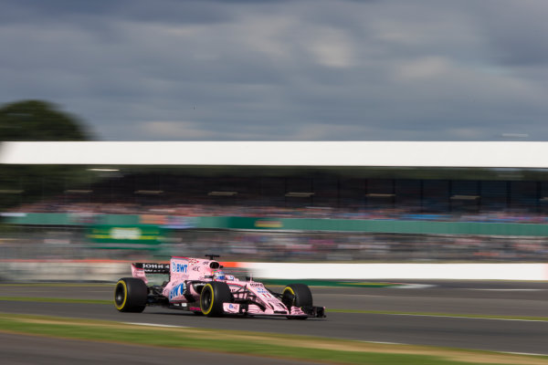 Silverstone, Northamptonshire, UK.  Friday 14 July 2017. Sergio Perez, Force India VJM10 Mercedes. World Copyright: Dom Romney/LAT Images  ref: Digital Image GT2R2499