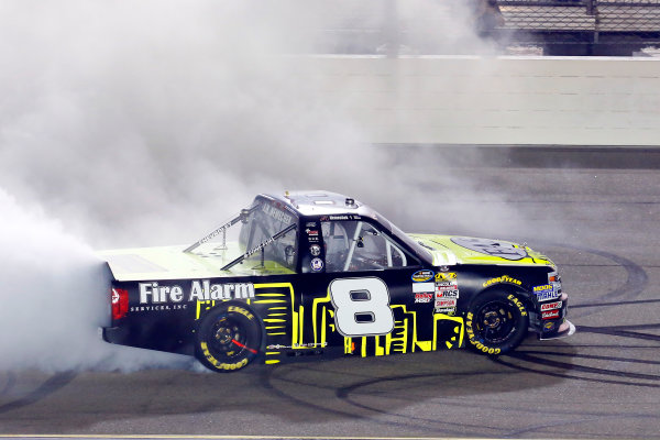 NASCAR Camping World Truck Series M&M?s 200 presented by Casey?s General Store Iowa Speedway, Newton, IA USA Friday 23 June 2017 John Hunter Nemechek, Fire Alarm Services/Romco Equipment Co. Chevrolet Silverado celebrates his win with a burnout World Copyright: Russell LaBounty LAT Images