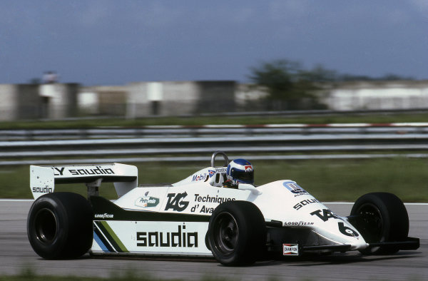 Keke Rosberg (FIN), Williams FW07C, finished second but he was later disqualified for running an illegal water tank after protests were lodged from Ferrari about the weight of the first two cars. Formula One World Championship, Brazilian Grand Prix, Rd2, Jacarepagua, Rio de Janeiro, Brazil, 21 March 1982. BEST IMAGE