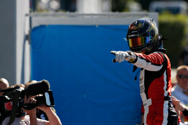 2015 GP3 Series Round 6. Autodromo Nazionale di Monza, Monza, Italy. Sunday 6 September 2015. Marvin Kirchhofer (GER, ART Grand Prix) celebrates his win in parc ferme. World Copyright: Sam Bloxham/LAT Photographic. ref: Digital Image _SBL3707