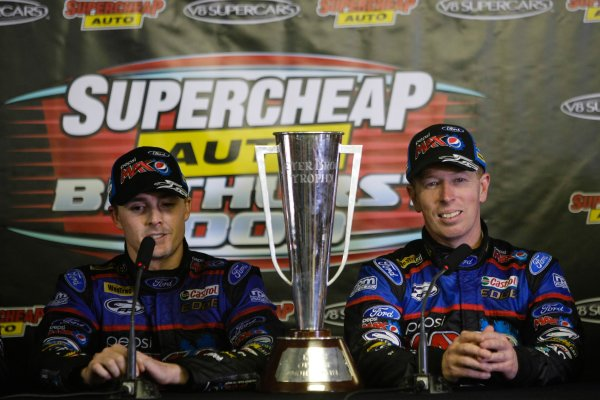 2013 V8 Supercar Series. Bathurst 1000 km. Mount Panorama, New South Wales, Australia. 10th - 13th October 2013. Race winners Mark Winterbottom, Steve Richards (Pepsi Max Crew/Ford Performance Racing – Ford Falcon FG) are pictured during the press conference. Portrait.    World Copyright: inetpics.com/LAT Photographic. ref: Digital Image 131013-N2-0987.jpg