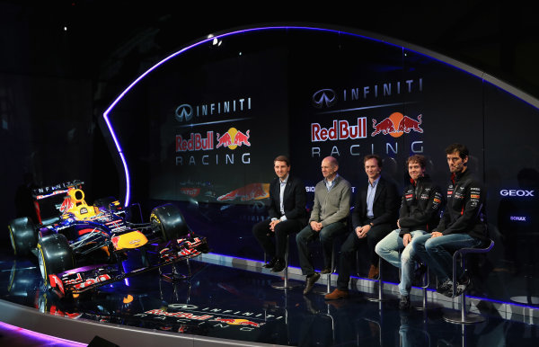 Milton Keynes, UK 3rd February 2013 .(L-R) Simon Sproule, Infiniti Corporate Vice-President Global Marketing, Adrian Newey, Chief Technical Officer, Christian Horner, Team Principle, Mark Webber of Australia, and Sebastian Vettel of Germany talk to the guests Photo: Richard Heathcote/Getty Images/Red Bull Racing () ref: Digital Image 160597330_10