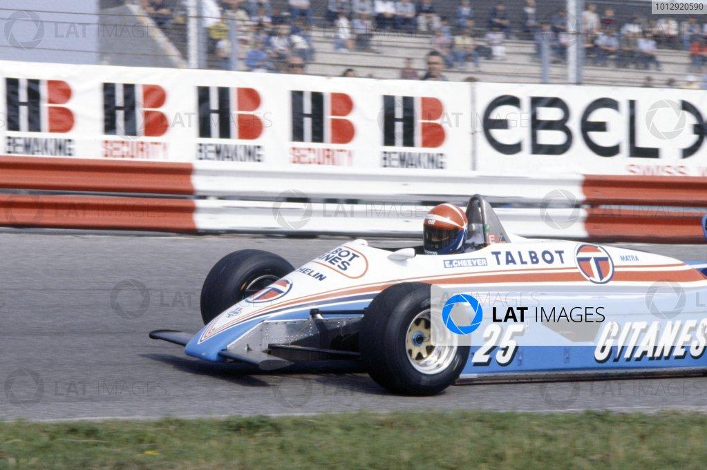 1982 Dutch Grand Prix.Zandvoort, Holland. 1-3 July 1982.Eddie Cheever (Ligier JS19-Matra), did not qualify.World Copyright: LAT PhotographicRef: 35mm transparency 82HOL04