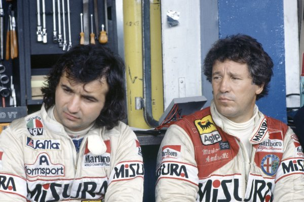 1981 Argentinian Grand Prix.Buenos Aires, Argentina. 10-12 April 1981.Bruno Giacomelli and Mario Andretti (both Alfa Romeo 179C). Portrait.World Copyright: LAT PhotographicRef: 35mm transparency 81ARG08