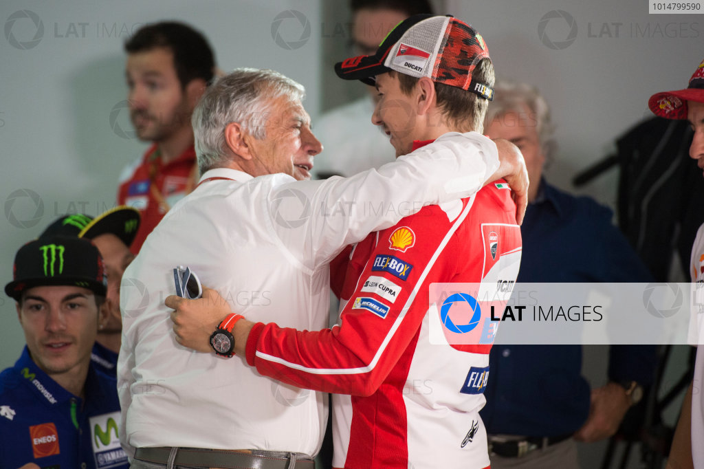 2017 MotoGP Championsip - Round 4 Jerez, Spain Thursday 4 May 2017 Jorge Lorenzo, Ducati Team, Giacomo Agostini World Copyright: Gold & Goose Photography/LAT Images ref: Digital Image 667648