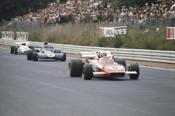 1971 German Grand Prix.  Nurburgring, Germany. 30th July - 1st August 1971.  Clay Regazzoni, Ferrari 312B2, leads François Cevert, Tyrrell 002 Ford, and Jo Siffert, BRM P160.  Ref: 71GER04. World Copyright: LAT Photographic