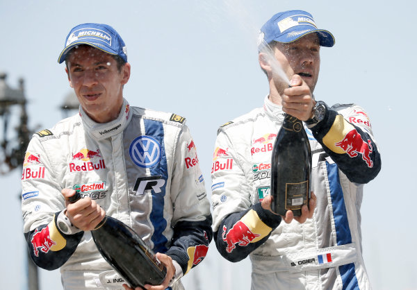2014 World Rally Championship Rally Italy Sardinia 5th - 8th June 2014 Sebastien Ogier, Julien Ingrassia, VW, Podium Worldwide Copyright: McKlein/LAT
