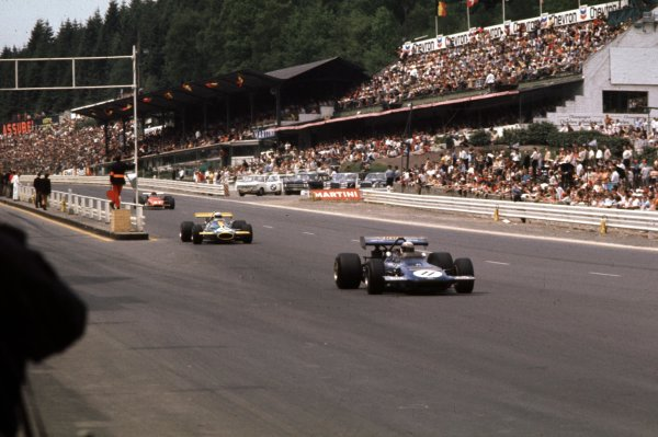 1970 Belgian Grand Prix.Spa-Francorchamps, Belgium.5-7 June 1970.Jackie Stewart (March 701 Ford) leads Jack Brabham (Brabham BT33 Ford) past the grandstands.Ref-70 BEL 08.World Copyright - LAT Photographic