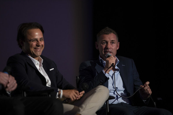 Felipe Massa and Tom Kristensen on stage