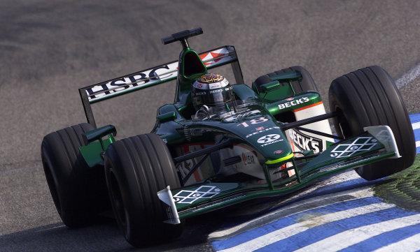 2001 German Grand Prix - Saturday QualifyingHockenheim, Germany. 28th July 2001.Eddie Irvine, Jaguar R2, action.World Copyright: Steve Etherington/LAT Photographic.ref: 17 5 mb Digital Image