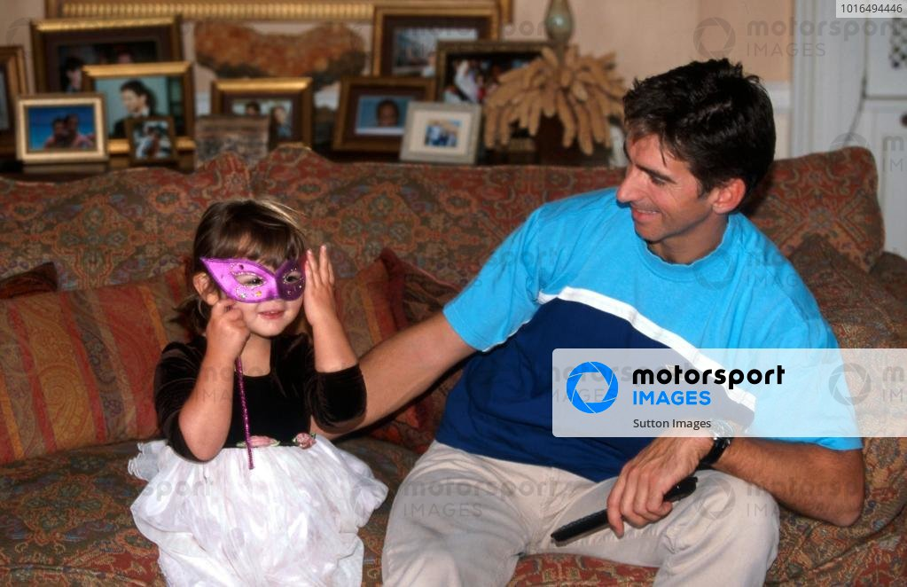 Damon Hill (GBR) enjoys some quality time with his daughter Tabatha at his home in Ireland.Home Feature, Dublin, Eire, 12 October 1998.