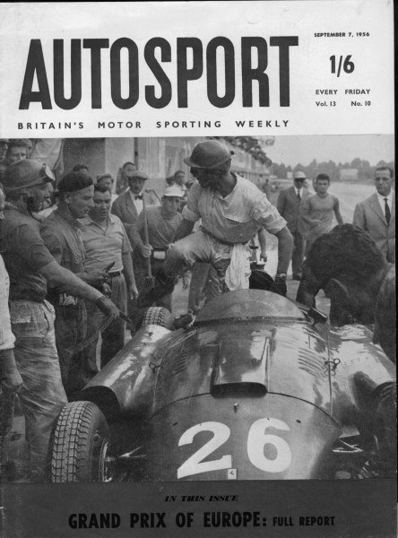 1956 Italian Grand Prix.Monza, Italy.2 September 1956.Autosport's front cover depicting Peter Collins handing his Lancia-Ferrari D50 to Juan Manuel Fangio, sportingly allowing Fangio to clinch his fourth World Championship. They finished in 2nd position.World Copyright - LAT Photographic