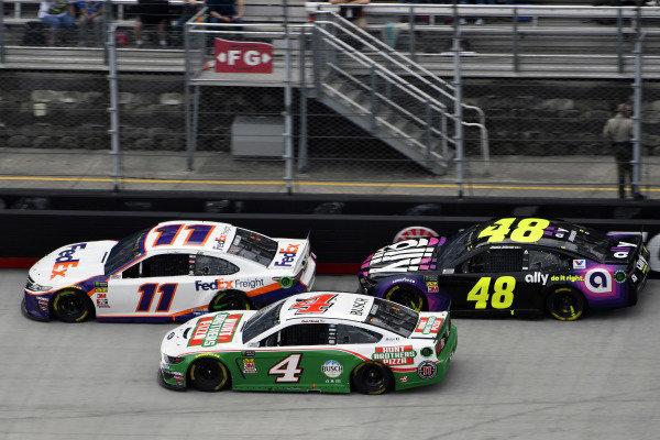 #11: Denny Hamlin, Joe Gibbs Racing, Toyota Camry FedEx Freight and #48: Jimmie Johnson, Hendrick Motorsports, Chevrolet Camaro Ally