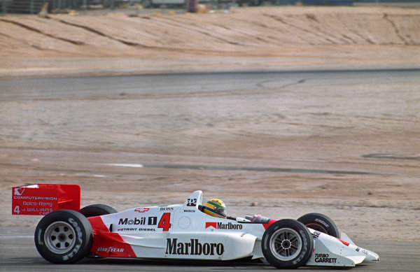 Ayrton Senna (BRA) testing the Penske Chevrolet PC22 for the first and only time. A move to Indycars was considered but never transpired.Indycar Testing, Firebird Raceway, Phoenix, Arizona, USA, 23 December 1992.