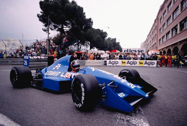 1989 Monaco Grand Prix.Monte Carlo, Monaco.4-7 May 1989.Olivier Grouillard (Ligier JS33 Ford) at Rascasse.Ref-89 MON 50.World Copyright - LAT Photographic