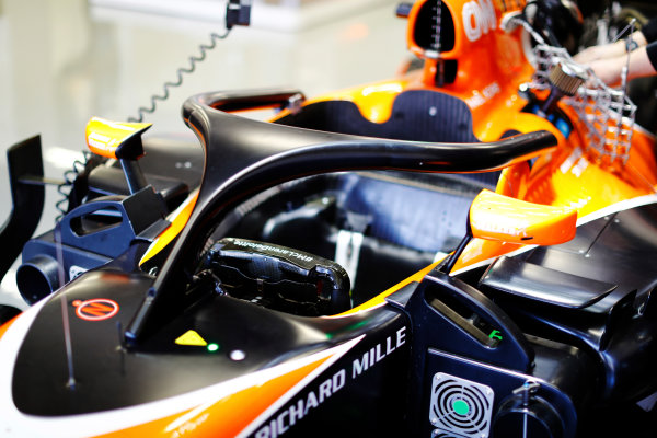 Autodromo Hermanos Rodriguez, Mexico City, Mexico. Friday 27 October 2017. The halo device is fitted to the cockpit of a McLaren MCL32 Honda.  World Copyright: Steven Tee/LAT Images  ref: Digital Image _O3I5399