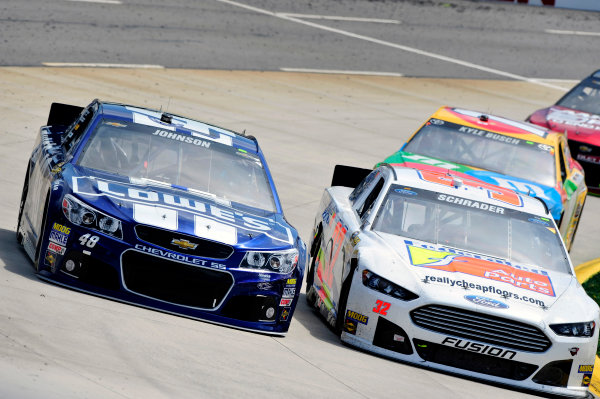 5-7 April, 2013, Martinsville, Virginia USA Ken Schrader and Jimmie Johnson ©2013, Nigel Kinrade LAT Photo USA