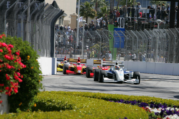 13-15 April, 2012, Long Beach, California USAEsteban Guerrieri leads the field into turn 2 at the start of the race©2012, Leland HillLAT Photo USA