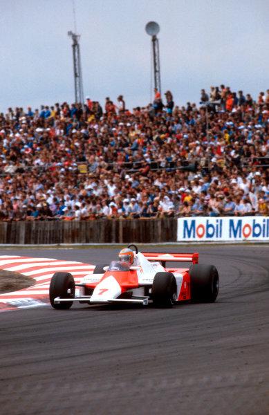 1981 British Grand Prix.Silverstone, England.16-18 July 1981.John Watson (McLaren MP4/1 Ford) 1st position.Ref-81 GB 09.World Copyright - LAT Photographic