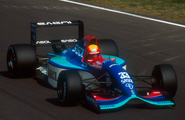 1992 Italian Grand Prix.Monza, Italy.11-13 September 1992.Mauricio Gugelmin (Jordan 192 Yamaha). He exited the race after losing drive with a transmission failure.Ref-92 ITA 05.World Copyright - LAT Photographic