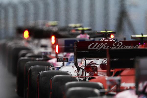 Antonio Giovinazzi, Alfa Romeo Racing C39, in the queue to leave the pits during qualifying