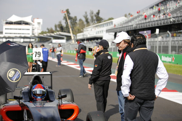Enzo Fittipaldi (BRA) on the grid with Emerson Fittipaldi (BRA) at Formula 4 Series, Circuit Hermanos Rodriguez, Mexico City, Mexico, 30 October 2016.