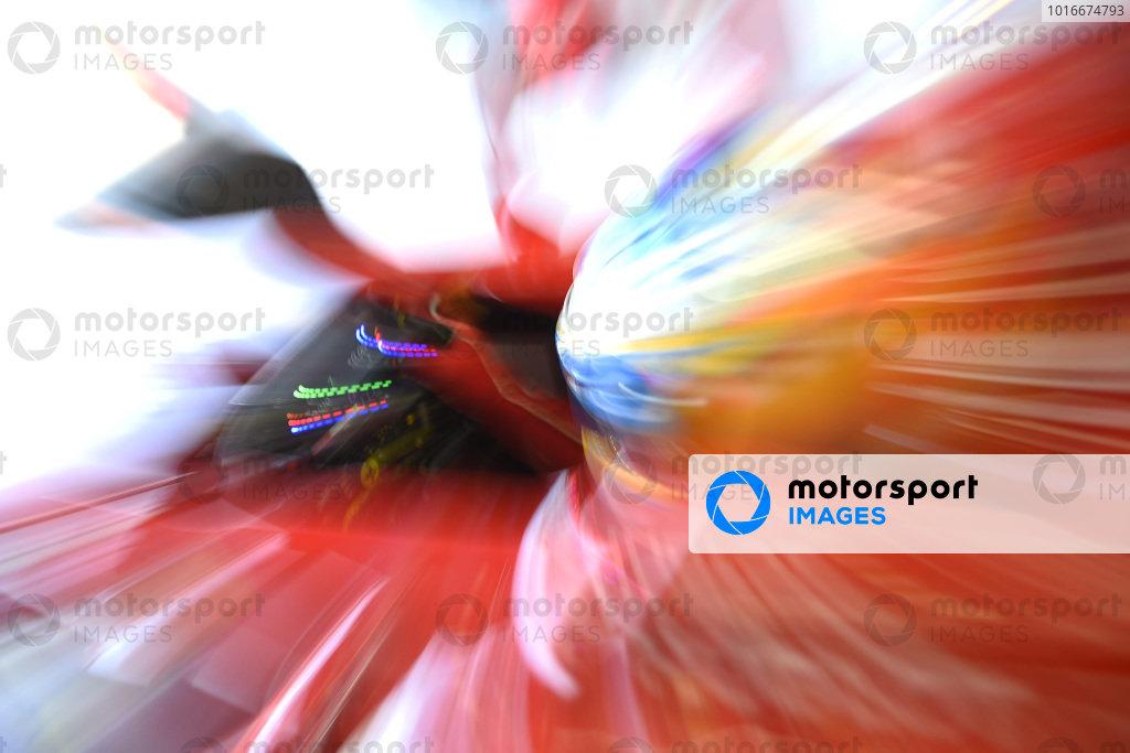 Fernando Alonso, Ferrari F14 T, leaves the pit garage.
