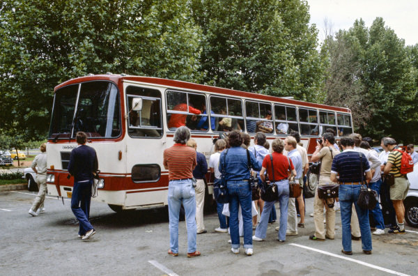 Drivers boards a coach on their way to a meeting after calling a strike in protest at the new superlicence conditions imposed by FISA.