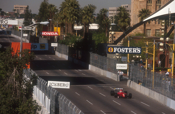 1991 United States Grand Prix.Phoenix, Arizona, U.S A.8-10 March 1991.Emanuele Pirro (Dallara 191 Judd). He exited the race with a gearbox failure.Ref-91 USA 11.World Copyright - LAT Photographic