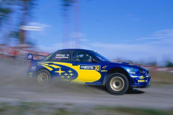 2002 World Rally ChampionshipNeste Rally of Finland. 8th - 11th August 2002.Tommi Makinen/Kaj lindstrom, Subaru Impreza WRC, action.World Copyright: McKlein/LAT Photographicref: 35mm Image A18