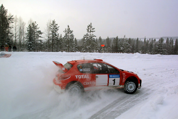 2003 FIA World Rally Championship. Karlstad, Sweden. Rd2.6-9 February 2003.Marcus Gronholm/Timo Rautiainen (Peugeot 206 WRC) 1st position.World Copyright: McKlein/LAT Photographic