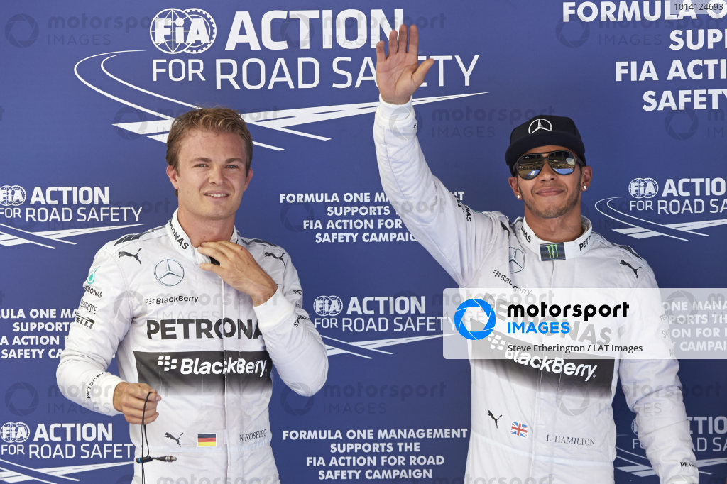 Circuit de Catalunya, Barcelona, Spain. Saturday 10 May 2014. Front row starters Nico Rosberg, Mercedes AMG, and Lewis Hamilton, Mercedes AMG. World Copyright: Steve EtheringtonLAT Photographic. ref: Digital Image SNE14921 copy