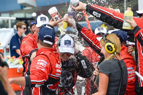 26-27 August, 2016, Brooklyn, Michigan USA Brett Moffitt (11) celebrates after winning. ©2016, John Harrelson / LAT Photo USA