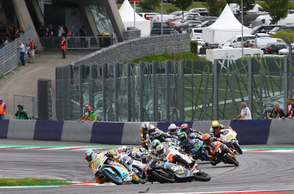 2017 Moto3 Championship - Round 11 Spielberg, Austria Sunday 13 August 2017 Crash, Andrea Migno, Sky Racing Team VR46 World Copyright: Gold and Goose / LAT Images ref: Digital Image 687209