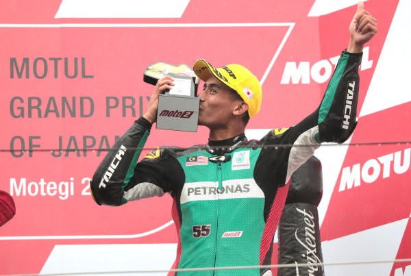 2017 Moto2 Championship - Round 15 Motegi, Japan. Sunday 15 October 2017 Third place Hafizh Syahrin, Petronas Raceline Malaysia World Copyright: Gold and Goose / LAT Images ref: Digital Image 698134