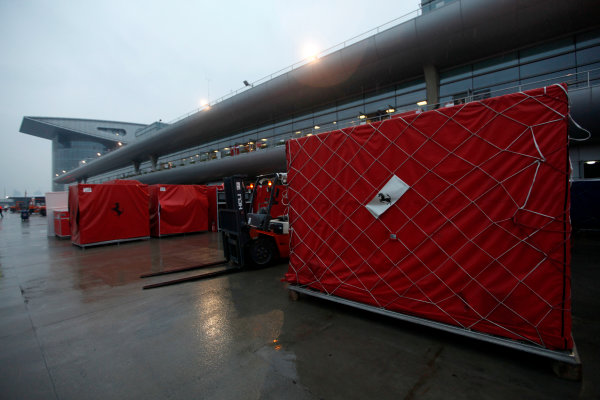 Shanghai International Circuit, Shanghai, China 18th April 2010 Ferrari equipment packed away and ready to be shipped. Detail. Atmosphere.  World Copyright: Andrew Ferraro /LAT Photographic ref: Digital Image _MG_9205
