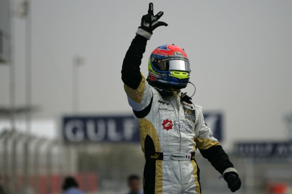 2008 GP2 Asia Series. Saturday Race.Bahrain International Circuit. Sakhir, Bahrain. 5th April. Romain Grosjean (FRA, ART Grand Prix) celebrates victory. World Copyright: Alastair Staley/GP2 Series Media Service. Service ref:__MG_3546 jpg