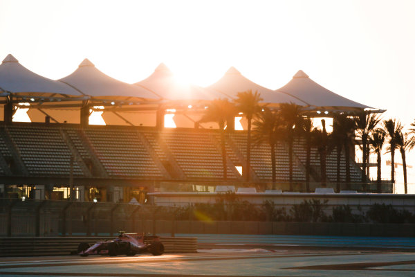 Yas Marina Circuit, Abu Dhabi, United Arab Emirates. Wednesday 29 November 2017. Sergio Perez, Force India VJM10 Mercedes.  World Copyright: Joe Portlock/LAT Images  ref: Digital Image _L5R1020