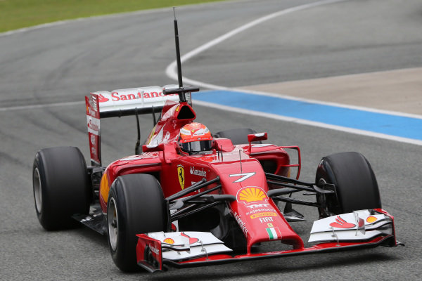 Kimi Raikkonen (FIN) Ferrari F14 T. Formula One Testing, Jerez, Spain, Day One, Tuesday 28 January 2014.