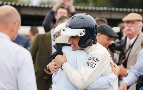 2015 Goodwood Revival Meeting.  Goodwood Estate, West Sussex, England. 11th - 13th September 2015.  Sir Jackie Stewart and Dario Franchitti.  Ref: _W5_5816. World copyright: Kevin Wood/LAT Photographic