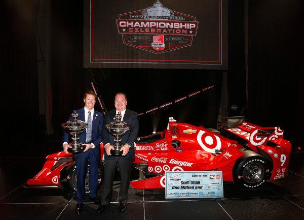 31 August, 2015, San Francisco, California, USA Champion Team owner and driver Scott Dixon and Chip Ganassi © 2015, Michael L. Levitt LAT Photo USA