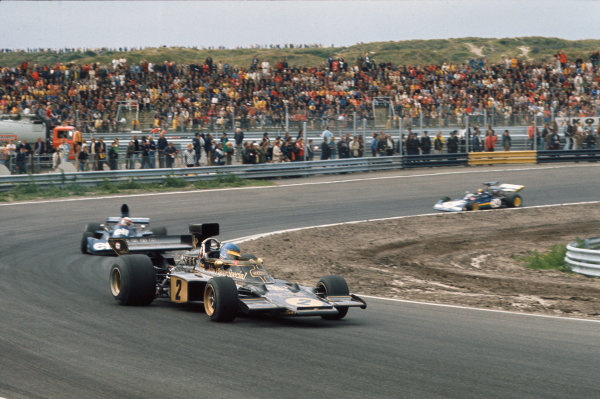 1973 Dutch Grand Prix.  Zandvoort, Netherlands. 27-29th July 1973.  Ronnie Peterson, Lotus 72E Ford, leads Jackie Stewart, Tyrrell 006 Ford, and Carlos Pace, Surtees TS14A Ford.  Ref: 73HOL10. World Copyright: LAT Photographic