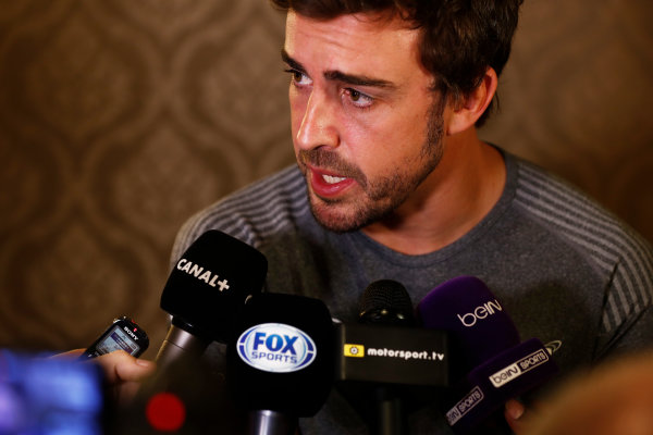 Bahrain International Circuit, Sakhir, Bahrain.  Wednesday 12 April 2017. Fernando Alonso talks to the media after announcing his deal to race in the 2017 Indianapolis 500 in an Andretti Autosport run McLaren Honda car. World Copyright: Glenn Dunbar/LAT Images ref: Digital Image _31I6966